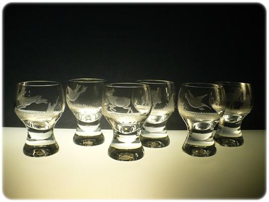 skleničky na likér 6 ks Gina 60ml,sklenice ručně ryté(broušené) myslivost,dárek pro myslivce