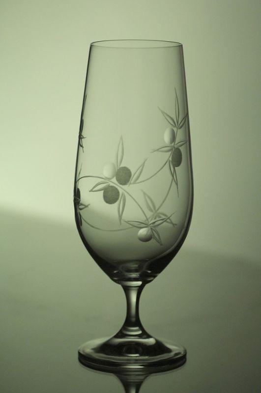 sklenice na pivo 6ks Lara 380 ml,skleničky ručně ryté (broušené) motiv bobule,dárek pro muže