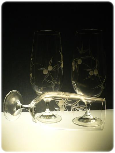 sklenice na pivo 6ks Klara 380 ml,skleničky ručně ryté (broušené) motiv bobule,dárek pro muže