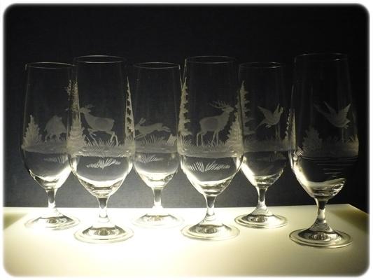 skleničky na pivo 6 ks Klara 380ml,sklenice ručně ryté (broušené) myslivost,dárek pro myslivce