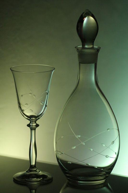 lahev na víno 1l + sklenice na víno 6ks Angela 250ml, ručně ryté (broušené) motiv korale, vhodný dárek pro ženu