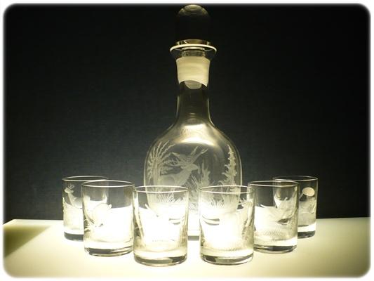 lahev 750ml+ 6 ks Barline 60ml skleničky na likér,ručně rytý (broušený) motiv myslivost,dárek pro myslivce