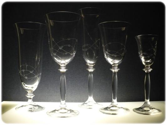 kompletní řada sklenice Angela ručně ryté (broušené) motiv korale, skleničky na likér,bílé víno,červené víno,šampus a pivo luxusní dárek pro muže nebo ženu