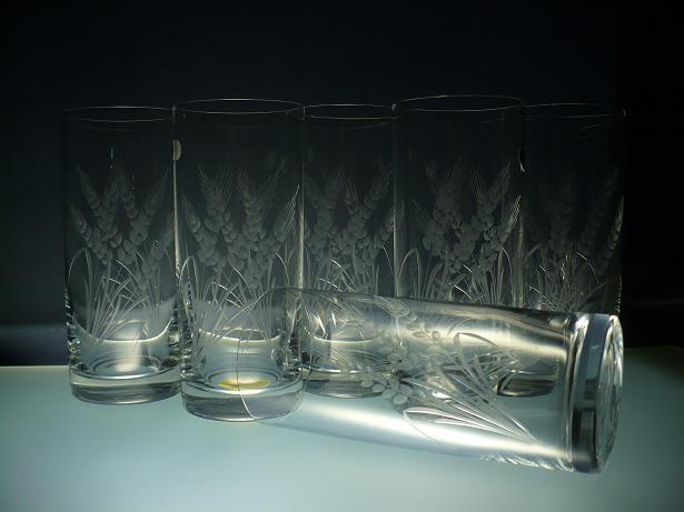 skleničky na pivo 6ks Barline 340ml,sklenice s rytinou klasů,dárek k narozeninám