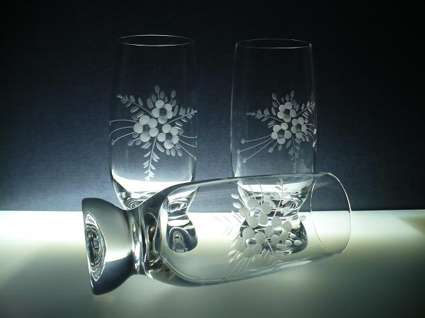 skleničky na pivo (vodu) 6ks Gina 260ml,sklenice ručně ryté (broušené) motiv květ,dárek pro muže i ženu