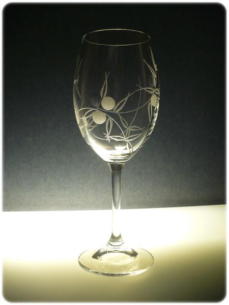 sklenice na víno 1ks Lara 250ml,sklenička ručně rytá (broušená) motiv bobule