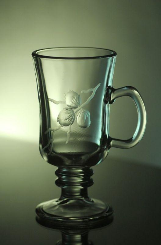 sklenice na kávu nebo latte 6ks venezia, ručně ryté (broušené), motiv tři oříšky