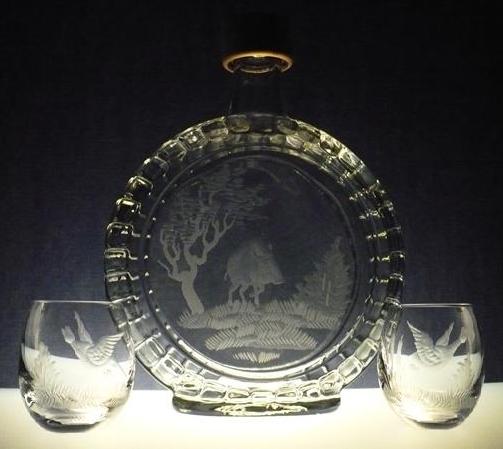 lahev na slivovici (pálenku) 0,7l +2ks likér s loveckou rytinou , dárek pro myslivce