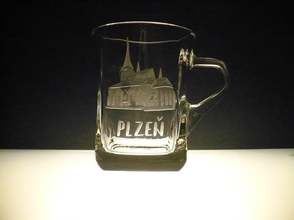 hrníček na kávu nebo čaj 200 ml,ručně rytý (broušený) motiv Plzeň