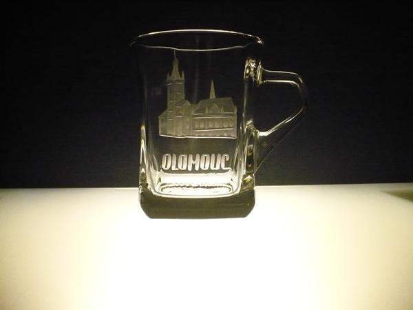 hrníček na kávu nebo čaj 200 ml ,ručně rytý (broušený) motiv Olomouc