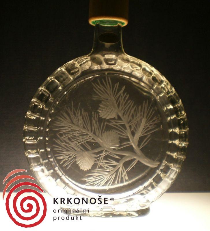 lahev na slivovici (pálenku) 0,7l s rytinou borovice, dárek pro dědečka