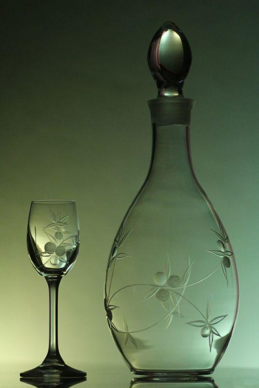 lahev 1l + skleničky 6ks Lara 65ml s rytinou bobule, možnost jména na přání