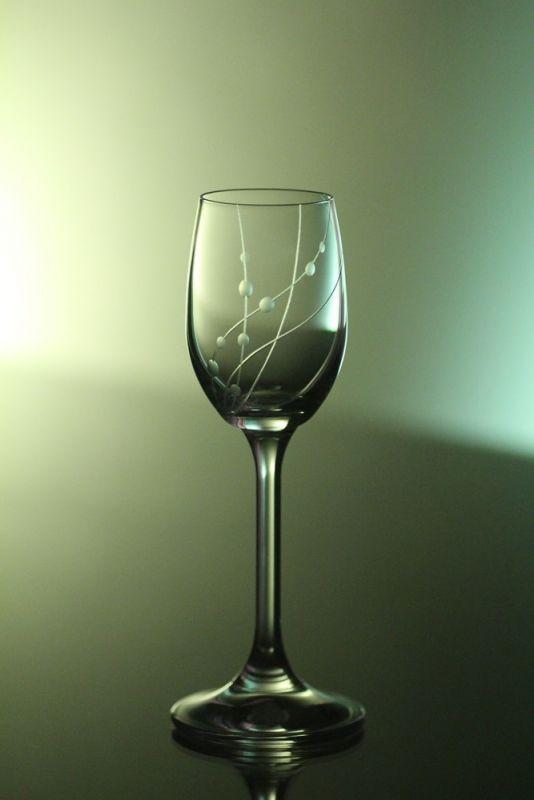 skleničky na likér nebo slivovici 6ks Lara 65 ml,sklenice s rytinou korale