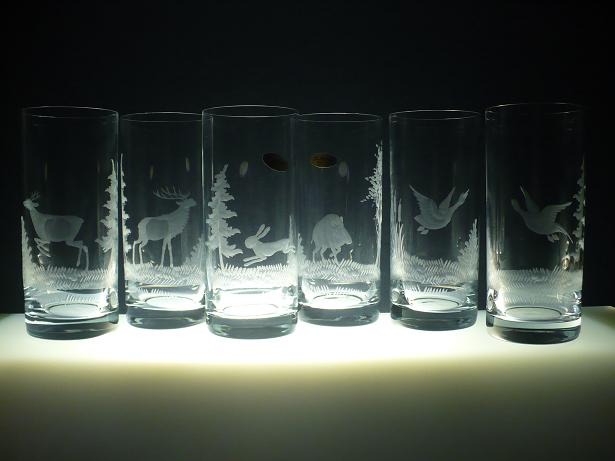 skleničky na pivo 6 ks Barline 300ml,sklenice ručně ryté (boušené) motiv myslivost,dárek pro myslivce