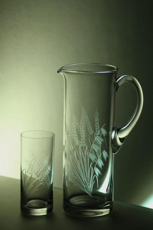 džbán 1,5l + skleničky 6 ks Barline 340ml na pivo, ručně ryté (broušené) motiv klasy, dárek pro muže