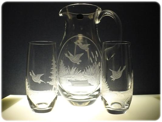 džbán 1,5l + sklenice 6 ks Club 350ml na pivo,ručně rytý (broušený) motiv myslivost,dárek pro myslivce
