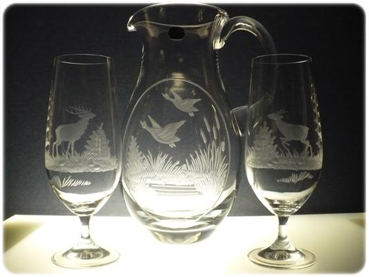 džbán 1,5l + sklenice 2 ks Klara 380ml na pivo, ručně rytý (broušený) motiv myslivost, dárek pro myslivce