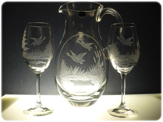 džbán na víno + 2 skleničky na víno Klara 250ml,ručně ryté (broušený) motiv myslivost,dárek pro myslivce
