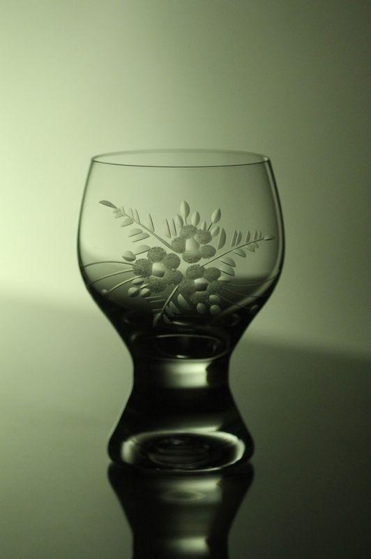 sklenice na víno 6ks Gina 190ml,skleničky ručně ryté (broušené) motiv květ,dárek pro pána i dámu