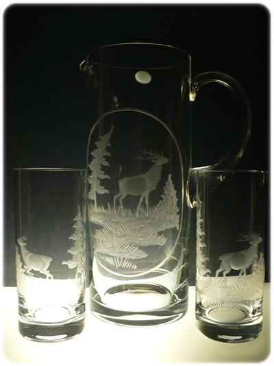 džbán 1,5l + skleničky 6 ks Barline 300ml na pivo, ručně rytý (broušený) motiv myslivost, dárek pro myslivce