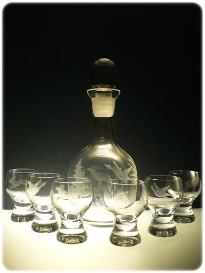 lahev 750ml+ 6 ks Gina 60ml skleničky na likér,ručně rytý (broušený) motiv myslivost,dárek pro myslivce