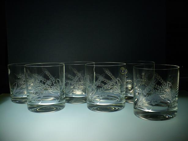 skleničky na whisky 6ks Barline 280ml,sklenice ručně ryté (broušené) motiv klas,dárek pro tatínka i dědečka