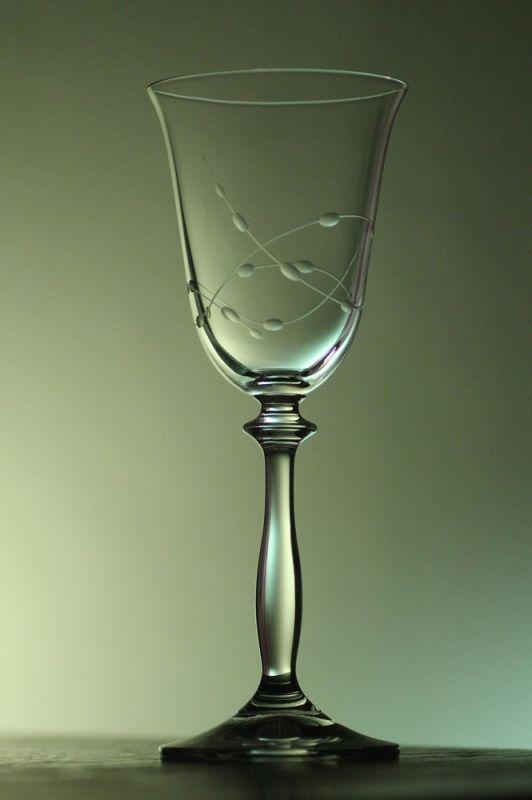 sklenička na víno 1ks Angela 185ml,sklenice ručně rytá (broušená) motiv korale, dárek pro ženu i muže