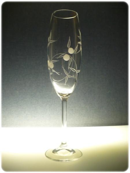 skleničky na sekt 2ks Klara 220ml,sklenice ručně ryté (broušené) motiv bobule, dárkové balení