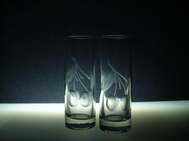 skleničky na slivovici nebo likér 6ks Barline 50ml,sklenice ručně ryté (broušené) motiv ovoce, dárek pro muže