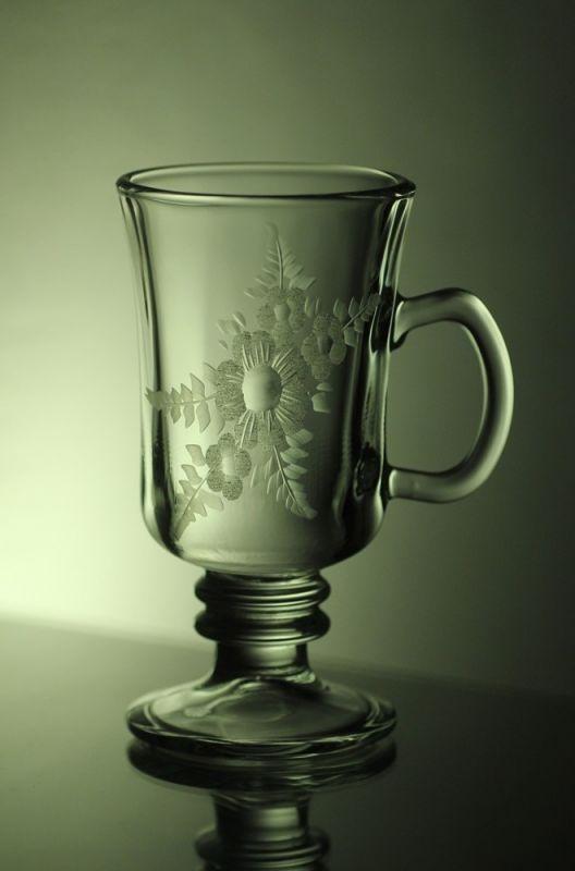sklenice na kávu nebo latte 6ks venezia, ručně ryté (broušené), motiv květy