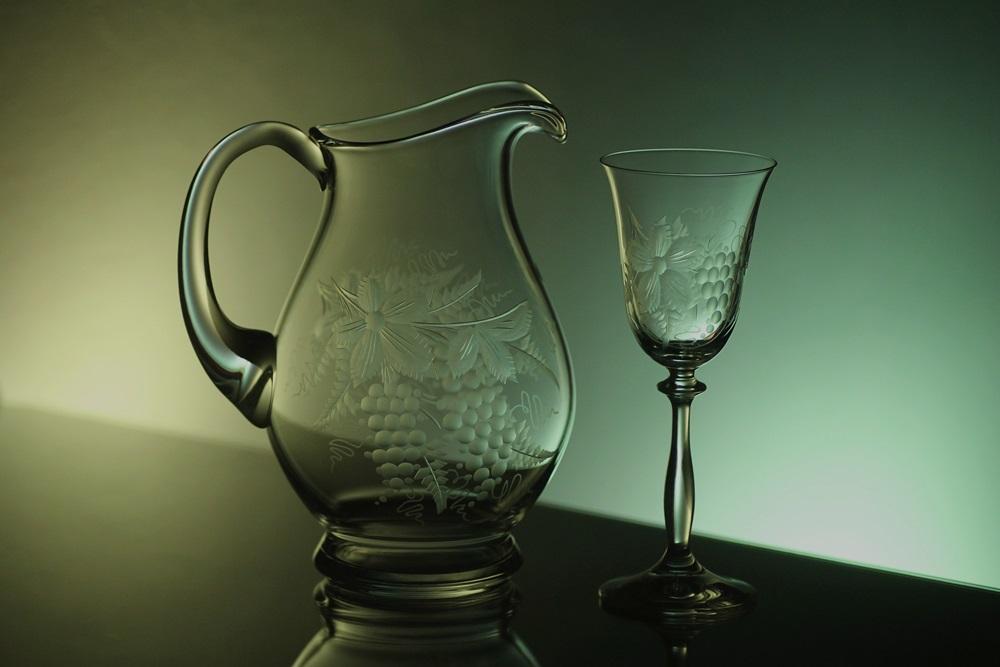 džbán na víno + skleničky na víno 6ks Angela 185ml, ručně ryté (broušené) motiv vinný hrozen