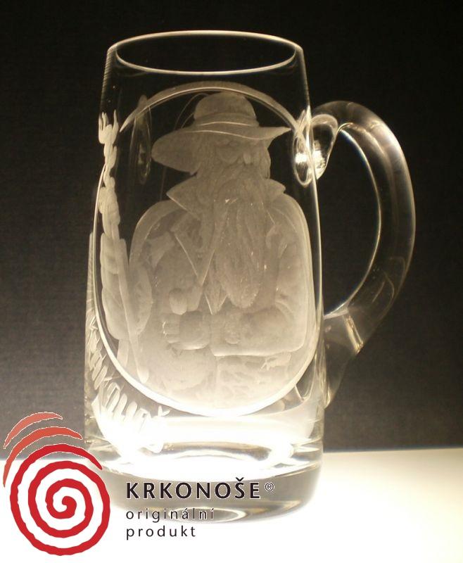 půllitr, pivní korbel, ručně rytý (broušený) motiv Krakonoš , dárek k narozeninám