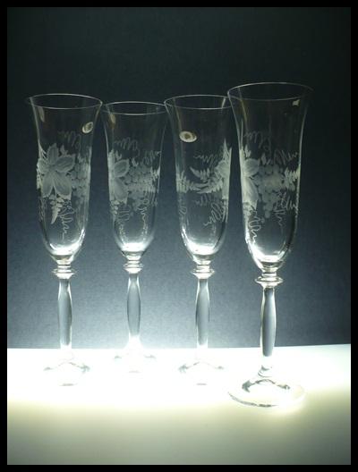 sklenice na sekt 6ks Angela 190ml,skleničky ručně ryté (broušené) motiv vinných hroznů,dárek pro muže i ženu