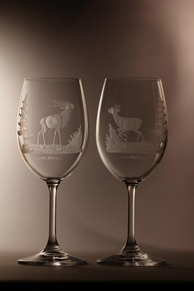 sklenice na víno 350ml 2 ks Lara,skleničky s rytinou myslivostí, dárek pro myslivce