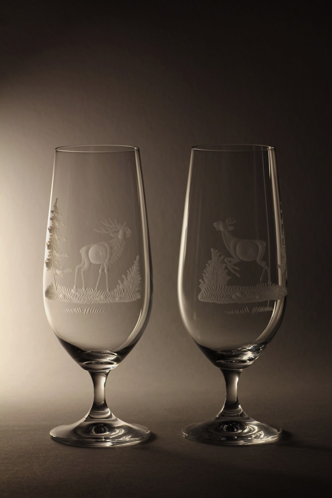 sklenice na pivo 380ml 2 ks Lara,skleničky s rytinou myslivosti, dárek pro myslivce