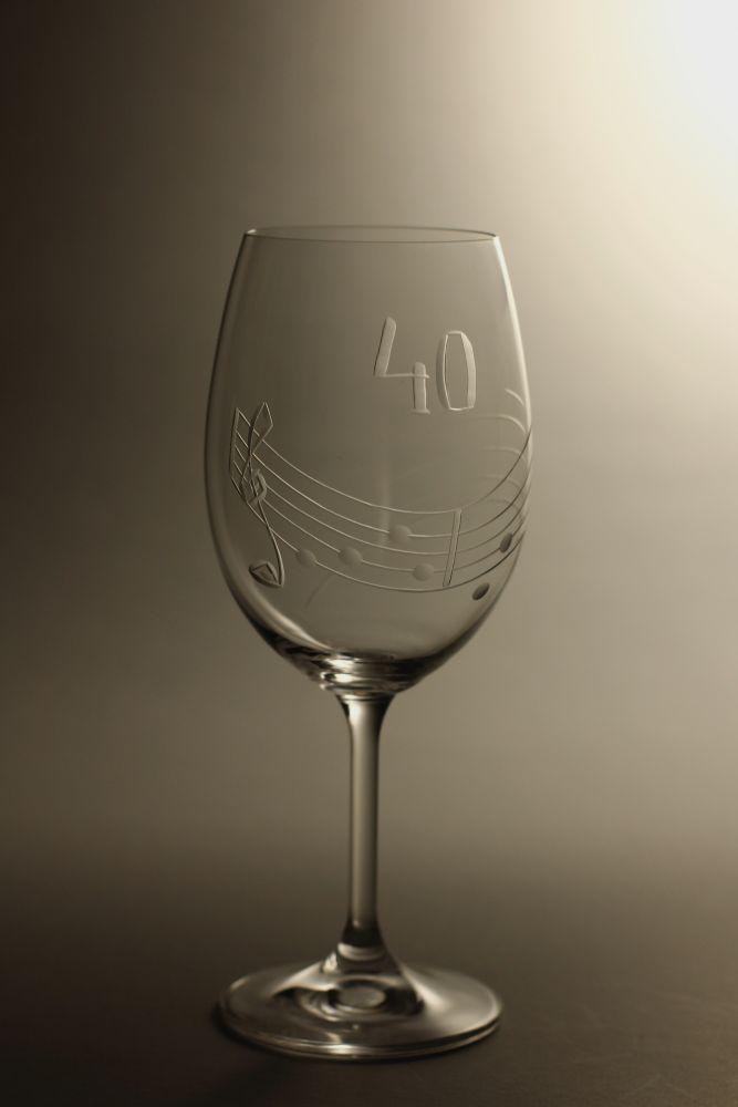 sklenice k výročí (jubileu) motiv noty, dárek k 40 narozeninám,dárkové balení