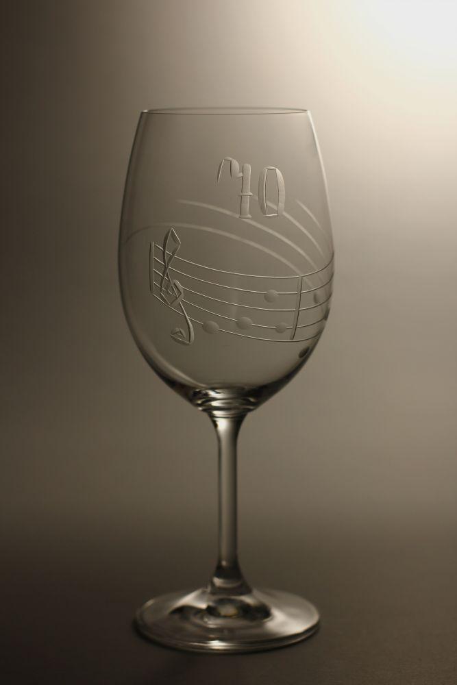 sklenice k výročí (jubileu),motiv noty, dárek k 70 narozeninám
