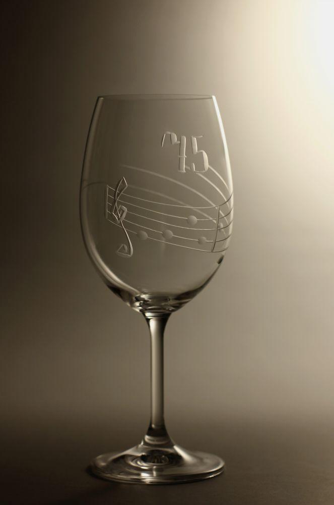 sklenice k výročí (jubileu),motiv noty, dárek k 75 narozeninám