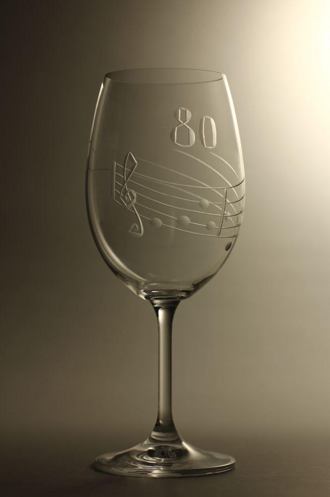 sklenice k výročí (jubileu),motiv noty, dárek k 80 narozeninám