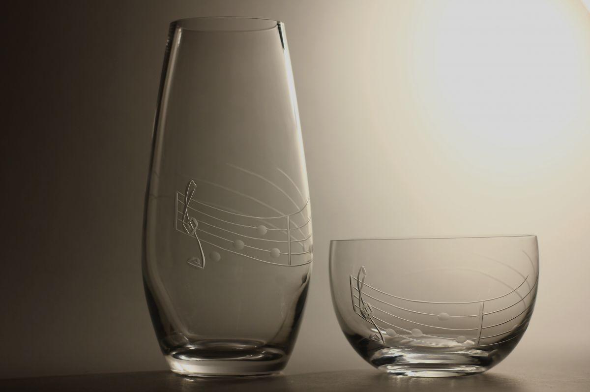křišťálová váza 20cm a miska s rytinou not, možnost jména na přání