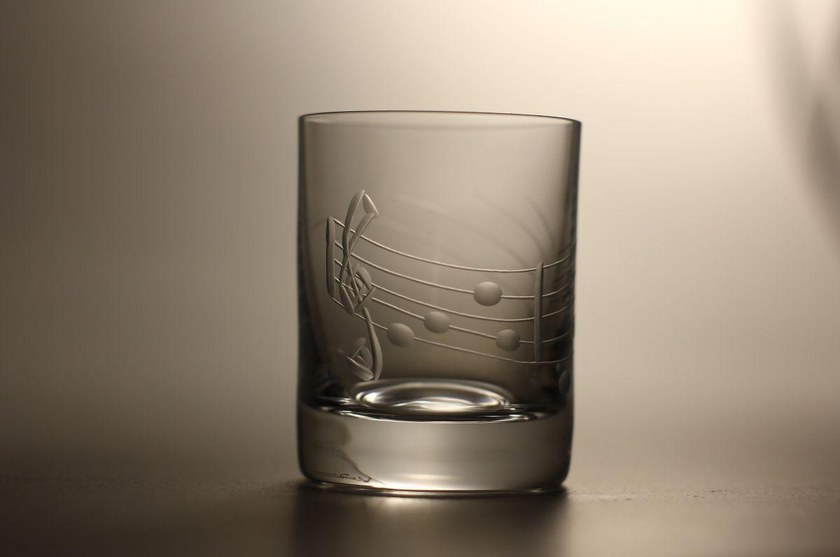 skleničky na likér nebo slivovici 6ks Barline 60ml,sklenice s rytinou not, dárek pro muzikanty