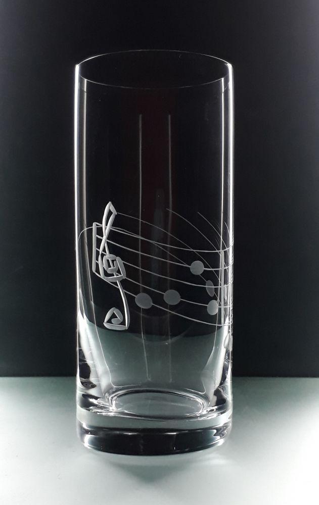 sklenička na pivo 1ks Barline 300ml s rytinou noty ,dárek k narozeninám