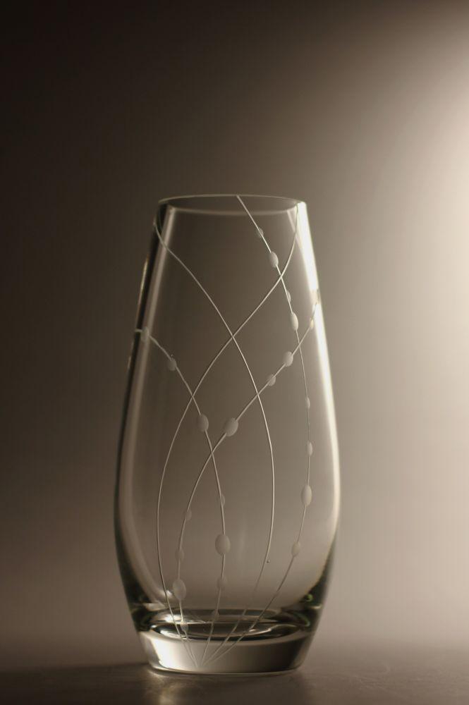 křišťálová váza 20cm s rytinou korale, možnost jména na přání