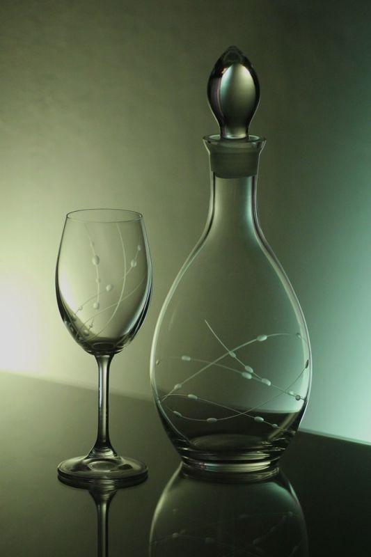 lahev na víno 1l + skleničky 6ks Lara 350ml s rytinou korale, možnost jména na přání