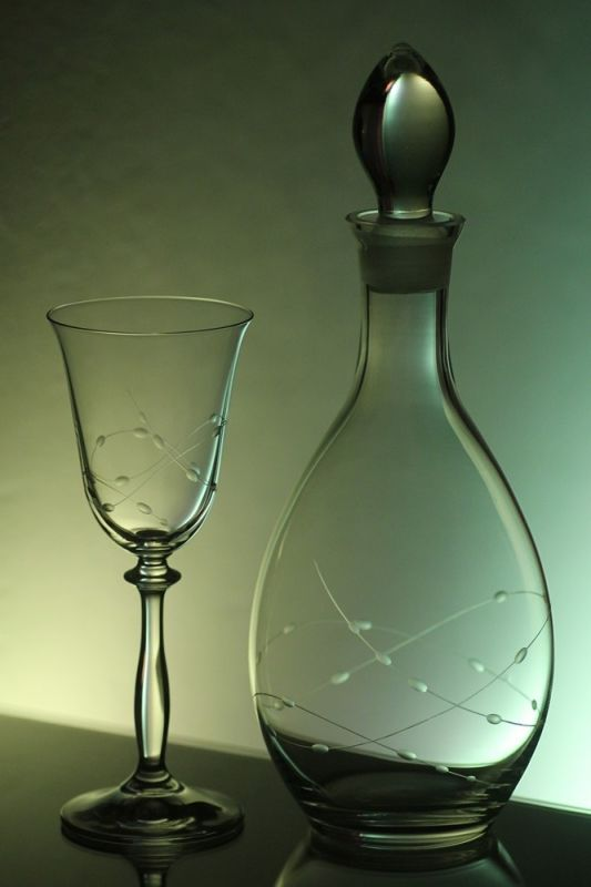 lahev na víno 1l + sklenice 2ks Angela 185ml s rytinou korale, možnost jména i výročí na přání