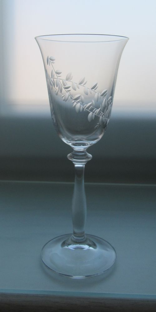 skleničky na víno 6ks Angela 250 ml,sklenice s rytinou lístečky,dárek k narozeninám