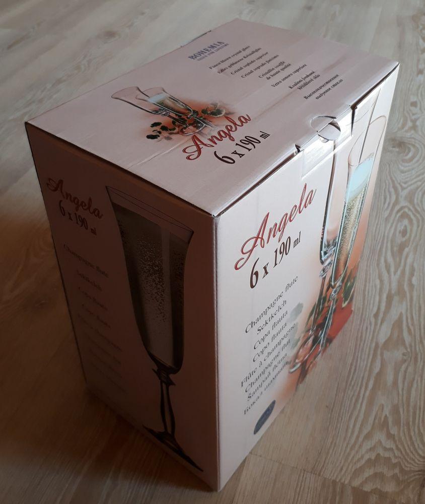 skleničky na sekt 6ks Angela 190 ml,sklenice s rytinou lístečků, dárek k narozeninám