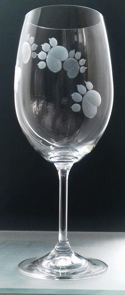 sklenice na víno 1ks Lara 250ml s rytinou psích pacek