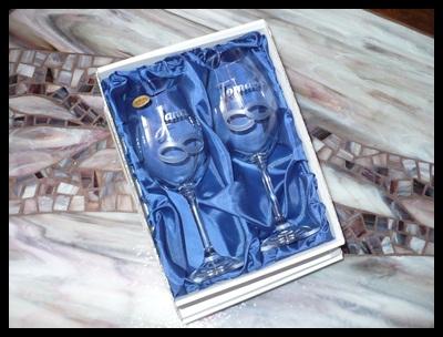 svatební skleničky, 2 ks Lara 350ml s rytinou prstýnků, sklenice se jména