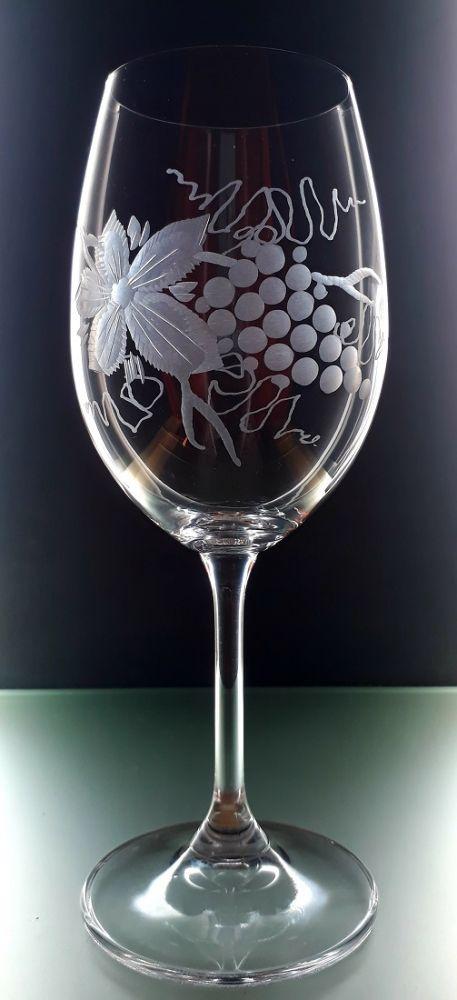 sklenička na víno 1ks Lara 350ml,sklenice s rytinou vinného hroznu, dárek k narozeninám